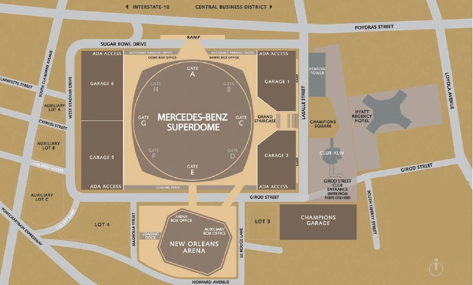 Tailgating parking tips at Mercedes-Benz Superdome