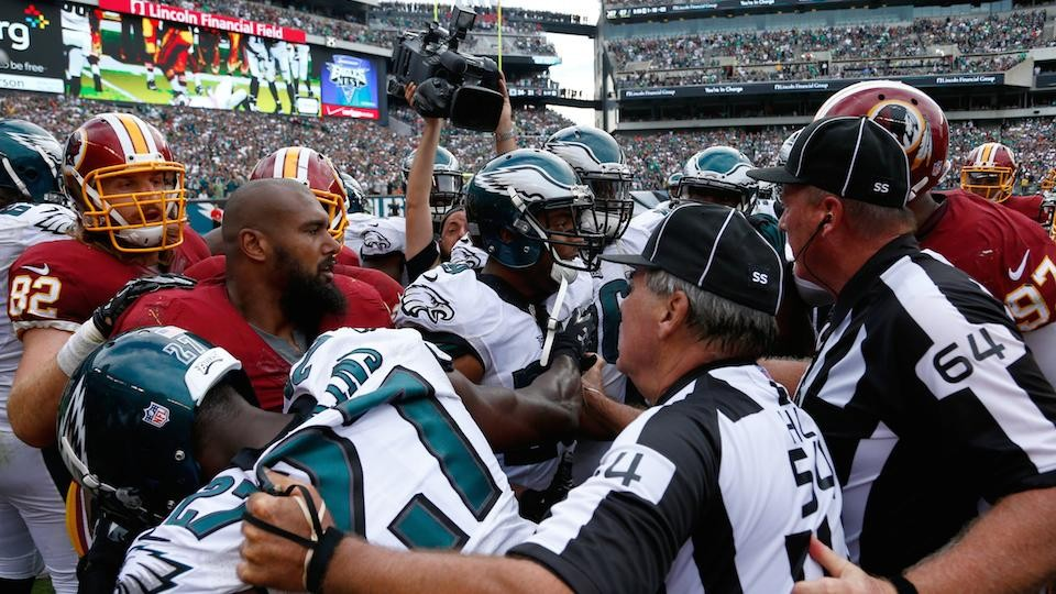 Hit on Nick Foles breaks open brawl, ejections between Eagles, Redskins