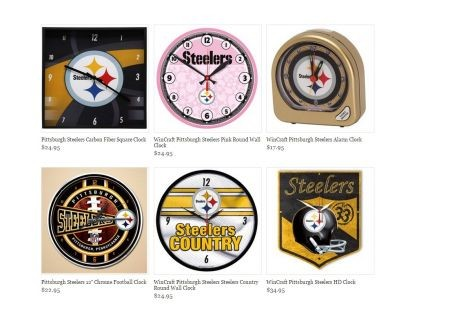 The FansEdge, Inc., website sells a multitude of unique Steelers-themed items, including watches, clocks, leggings, bathing suits and mercha