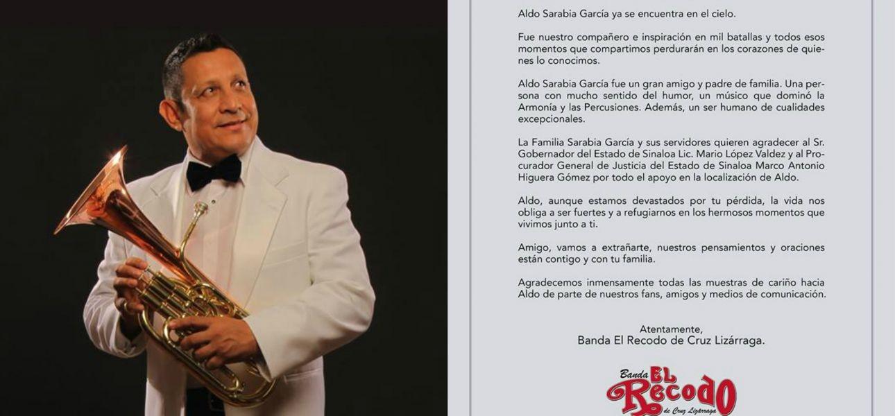Banda El Recodo banda member Aldo Sarabia murdered