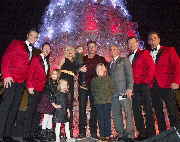 Tori Spelling and family light the Christmas tree at Venetian Las Vegas