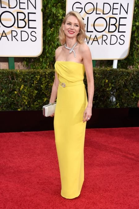 Naomi Watts is on our best dressed list for going bold and bright in this column Gucci gown and sparkling Bulgari jewels. Naomi appeared alo