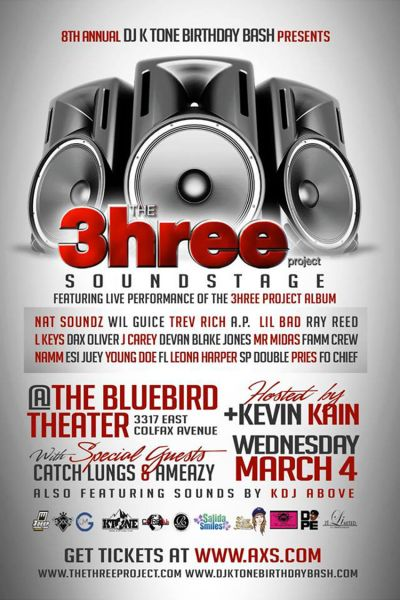 The 3hree Project plays coveted Bluebird on March 4