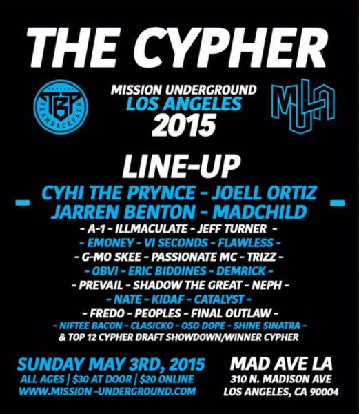 Over the weekend May 1-3, 2015 emcees from all over the country will battle for their chance to be in the Team Backpack Cypher.