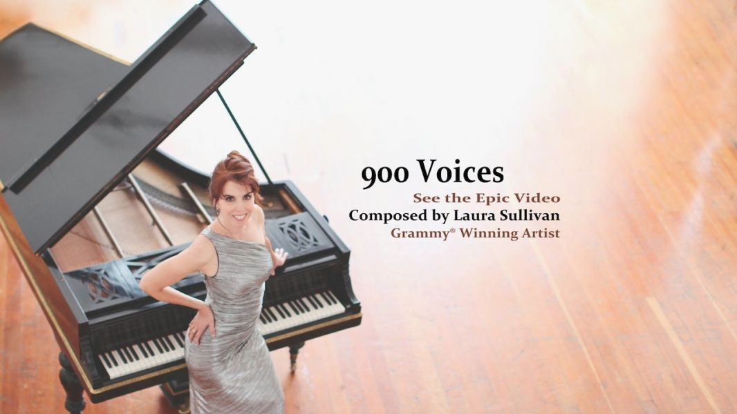 "Laura Sullivan and her husband Eric thought up the brilliant musical project, ""900 Voices,"" calling for people all over the world to sing he"