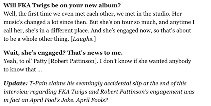 T-Pain says FKA Twigs and Robert Pattinson are engaged