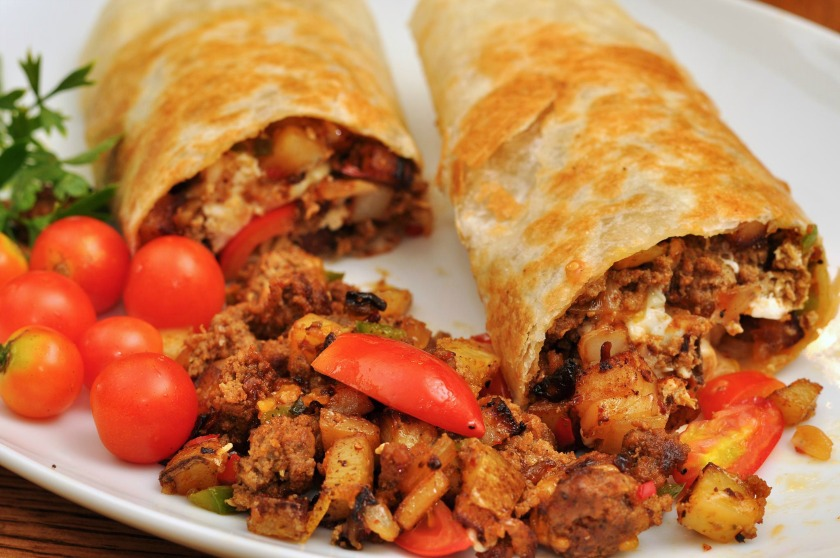 Breakfast burritos are commonly served at Mexican restaurants in San Diego