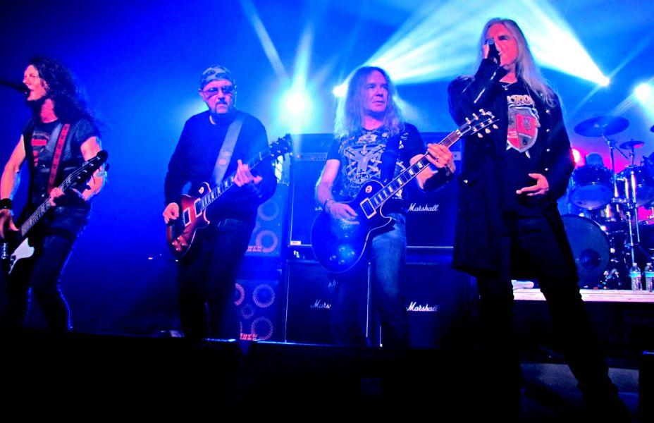 "Saxon's Tim ""Nibbs"" Carter (from left), Paul Quinn, Doug Scarratt, vocalist Biff Byford and drummer Nigel Glockler headlined 210 Kapone"