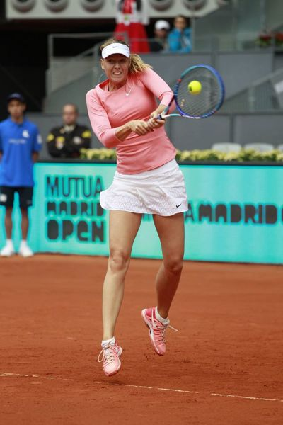 Maria Sharapova used her strong forehand to beat Timea Bacsinszky in the first round of the Madrid Open