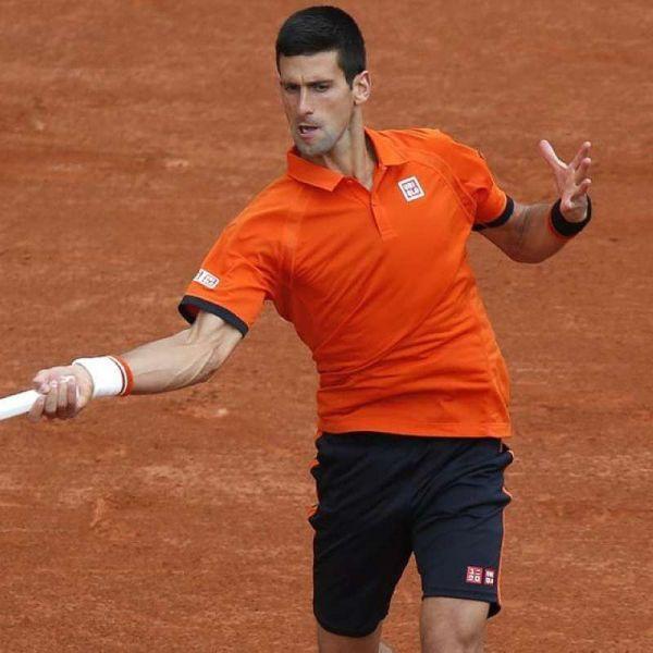 A return by Novak Djokovic helped him work off a first round win at Roland Garros