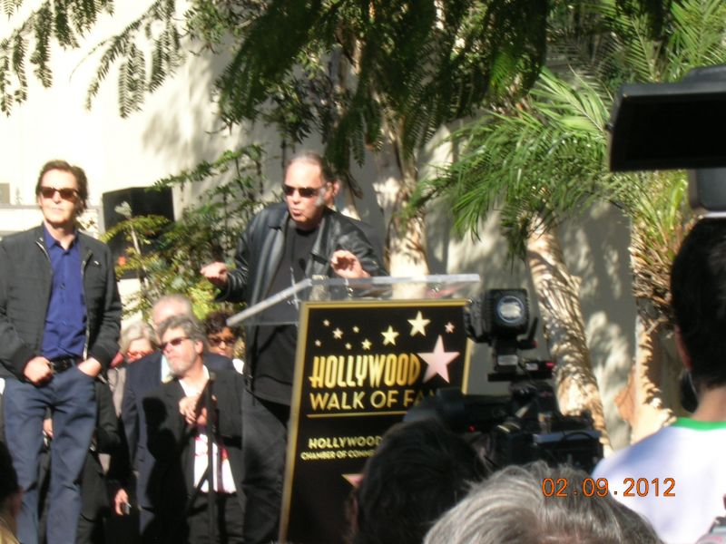 Paul McCartney receiving his star on the Hollywood Walk of Fame