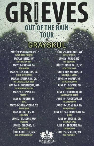 Grieves' Out Of The Rain Tour spans much of the U.S.