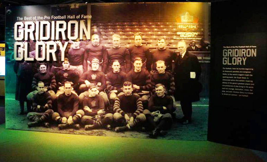 The Grid Iron Glory Team Photo seen as you enter the exhibit
