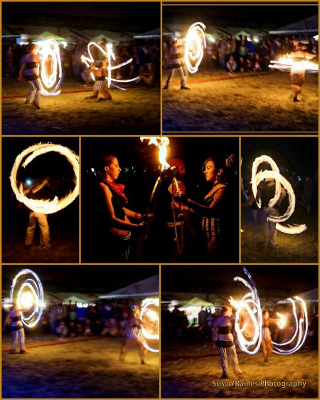 Fire dancers came out at the end of the evening shows and set the night aglow. Swirling, dancing, arcing and flaming images leapt in the nig