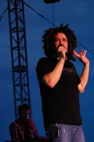 Counting Crows singer Adam Duritz and keyboardist Charlie Gillingham perform at the Gateway Arch in St. Louis, Mo., on July 3, 2009.