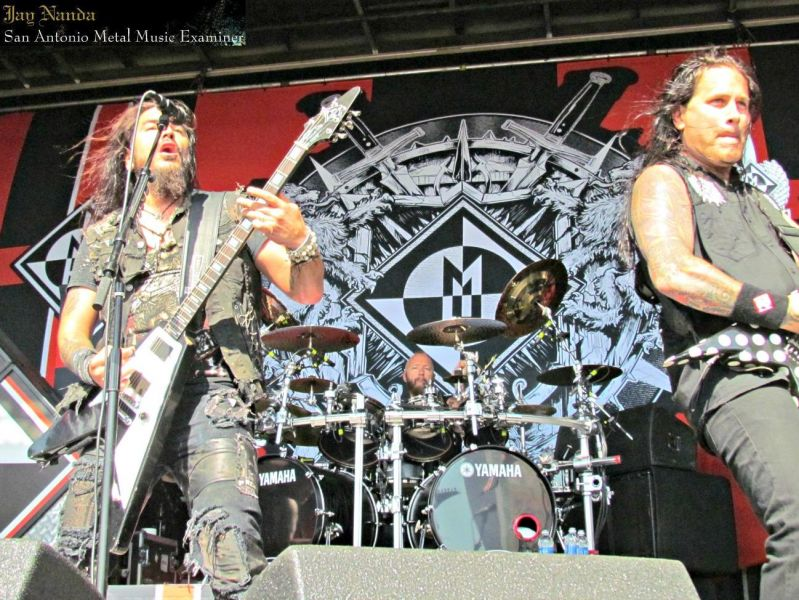 Machine Head's Robb Flynn (left), drummer and San Antonio native Dave McClain and lead guitarist Phil Demmel are coming to the Aztec Th