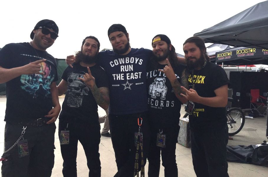 The members of Texas' Shattered Sun at the Albuquerque leg of the 2015 Mayhem Festival.