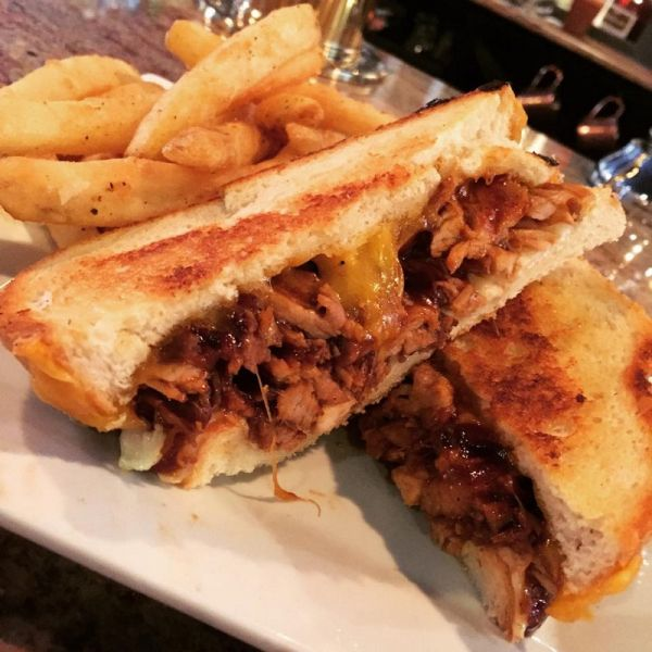 The BBQ Pulled Pork Grilled Cheese at Mystic Station.