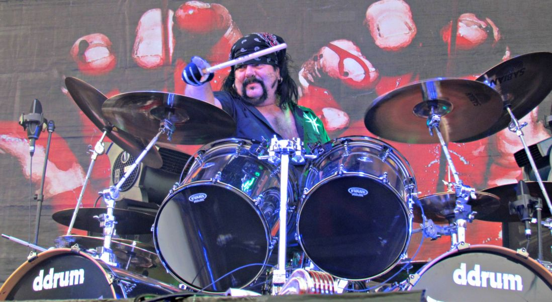 Hellyeah drummer Vinnie Paul acknowledges the crowd in the Alamo City Music Hall parking lot that served as the main stage of Friday's