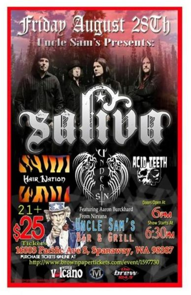 Don't miss the 2015 Summer Blast music festival with Saliva, Hair Nation, Under Sin and Acid Teeth