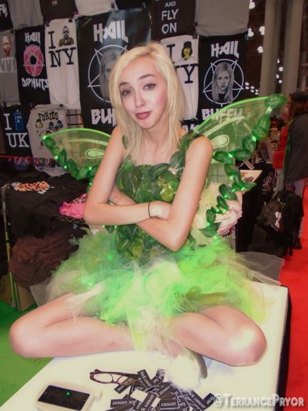 Tinker Bell hanging out at the Shirts For A Cure (http://shirtsforacure.merchnow.com) booth.