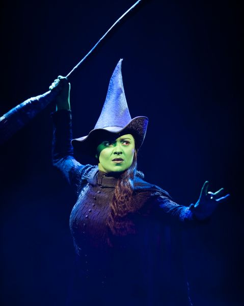 "Elphaba denies gravity from the Broadway tour of ""Wicked"" at the Music Hall"