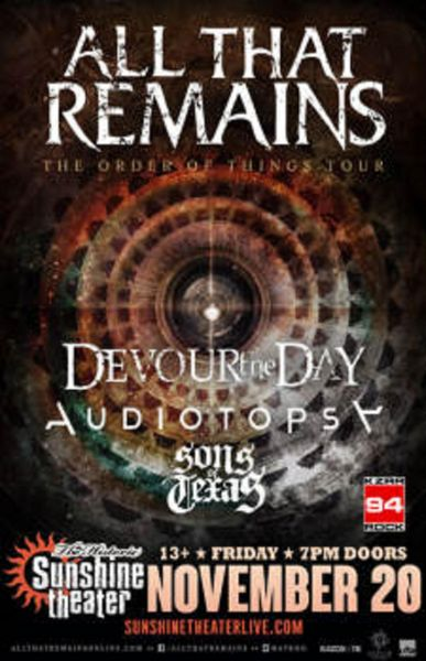 All that Remains and more perform at Albuquerque's Sunshine Theater on Nov. 20.