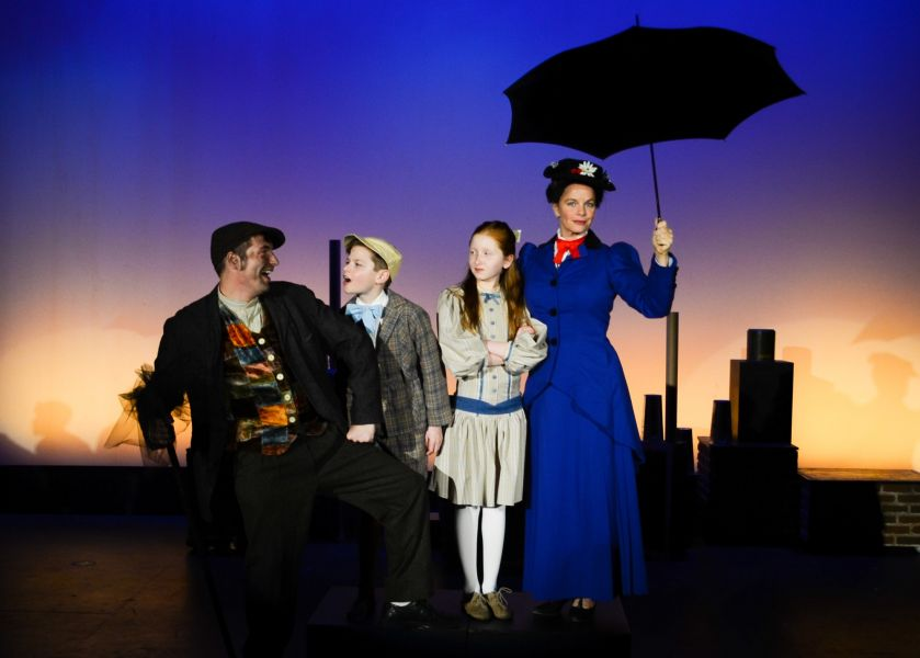 "Left to right, Luke Walker, Quinn Liebling, Sophie Eldridge, and Lisa Mandlekorn in Bainbridge Performing Arts' ""Mary Poppins.'"