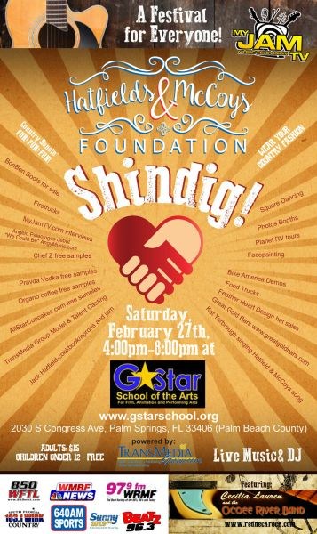 On Saturday, February 27, 2016, open your heart and attend the shindig benefit in West Palm Beach to benefit the Hatfields & McCoys Foundati