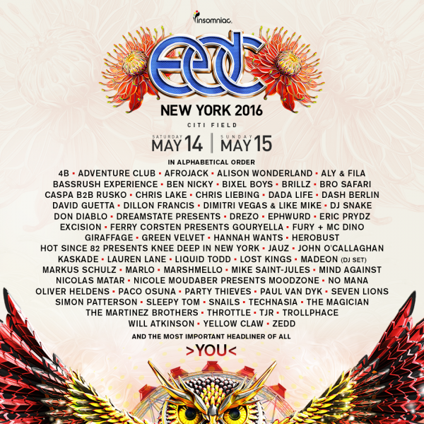 Electric Daisy Carnival New York announces full lineup.