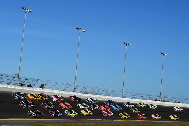 The race field of the 2015 Daytona 500 on Feb. 22, 2015, at Daytona International Speedway.