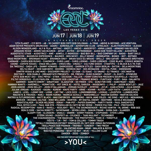 EDC Las Vegas 2016 Artist Lineup