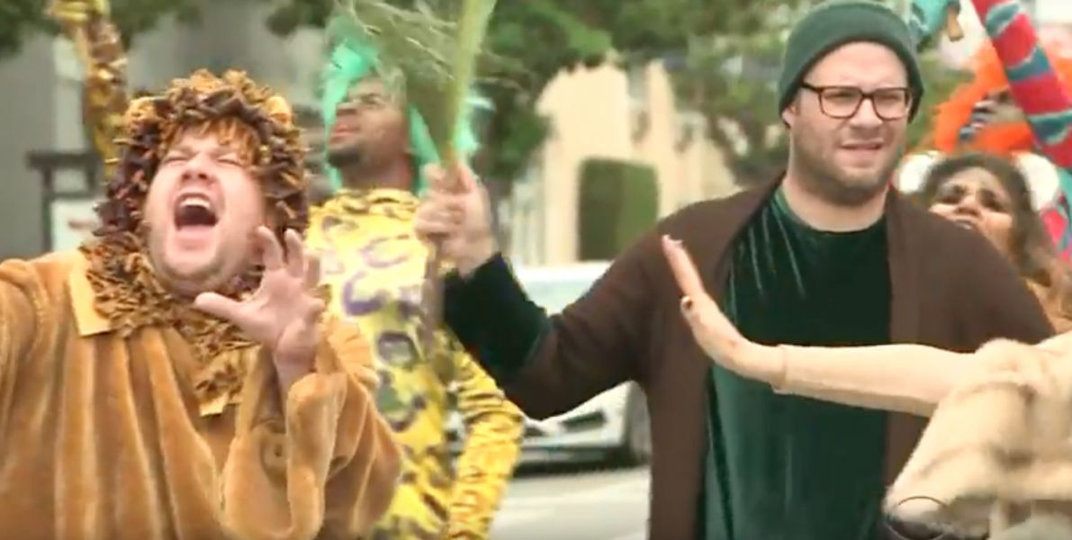 James Corden stages a 'Lion King' crosswalk musical, Seth Rogen cast as 'trees'