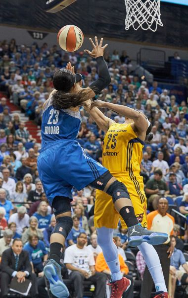 Minnesota forward Maya Moore (23) blocks Indiana wing Marissa Coleman (25) in the first quarter. Moore finished with 9 points and 8 assists.