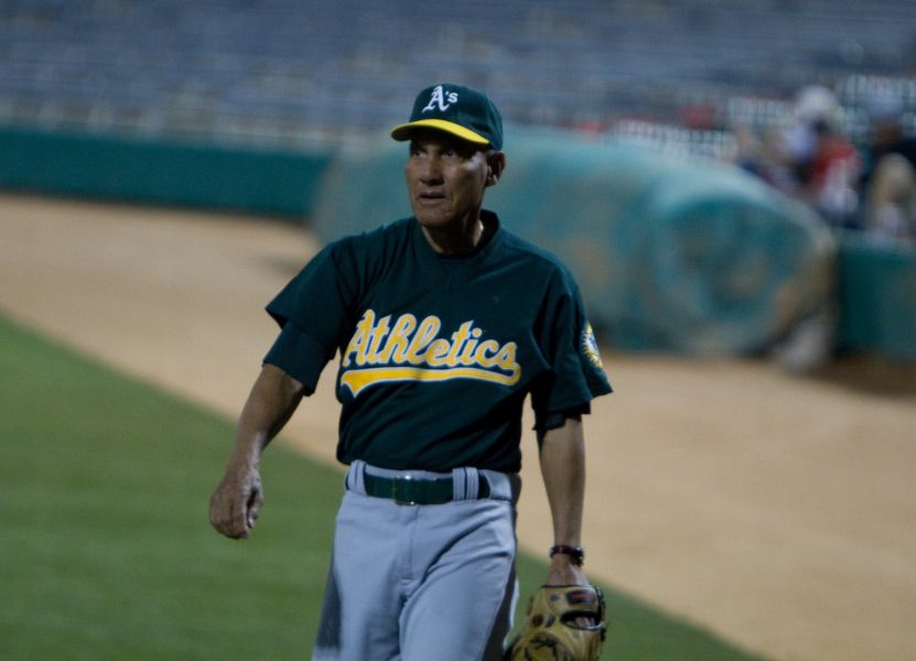 Shown here at an old-timers game in 2010, Bert Campaneris was the Oakland speedster before Rickey Henderson showed up.