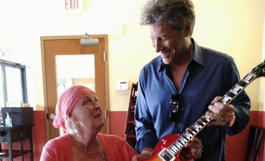 Jon Bon Jovi surprised a fan battling cancer at his JBJ Soul Kitchen restaurant on Saturday (June 25)