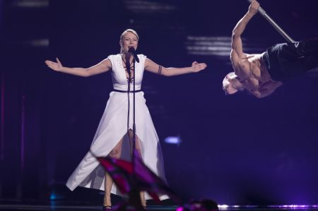 Slovenia's 2016 entry, ManuElla sings in the semi-final.