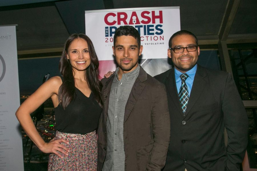"Voto Latino Board of Director and actor Wilmer Valderrama with ""Crash The Parties"" winners Arlene Santana (left) and James Villalobos (right"