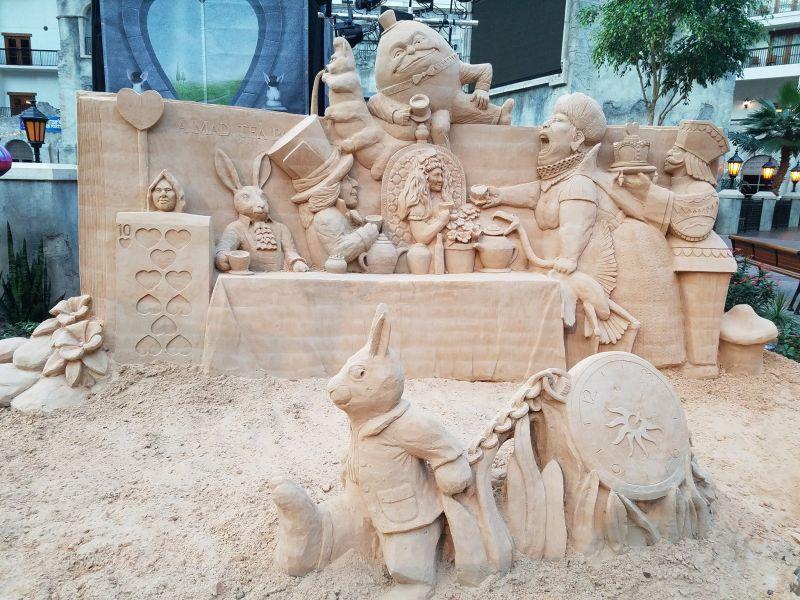Alice in Wonderland sand sculpture