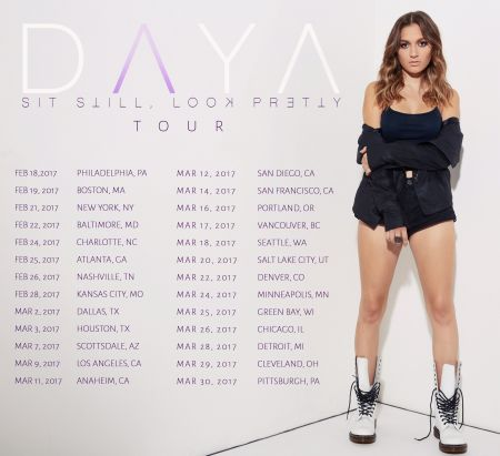 Daya will kick off her headlining tour on Feb. 18, 2017 at the Trocadero in Philadelphia. Her debut album Sit Still, Look Pretty drops Oct.