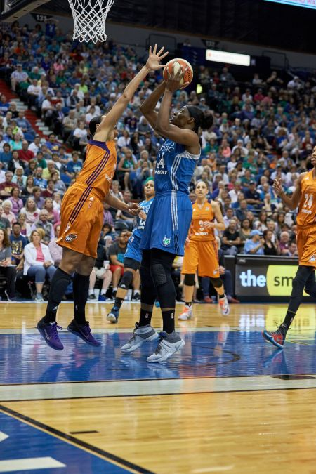 Sylvia Fowles (34) has given Minnesota a reliable option to contain Brittney Griner in the storied rivalry between Minnesota and Phoenix, an
