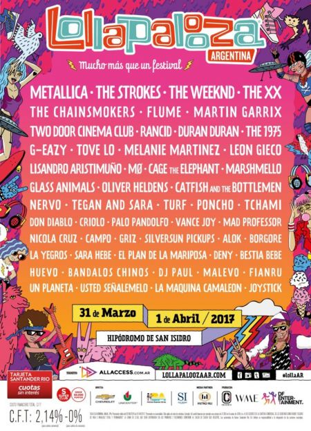 Lollapalooza reveals lineup of 2017 South American festival