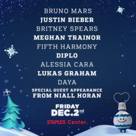 KISS FM's 2016 Jingle Ball lineup features headliners including Bruno Mars, Justin Bieber, and Britney Spears