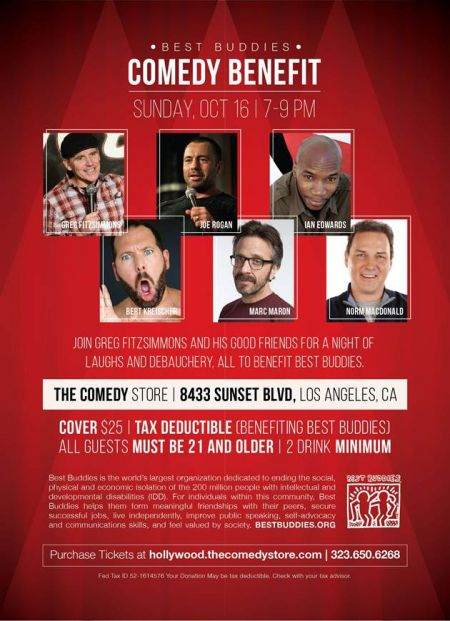 The Best Buddies Comedy Benefit will be held at The Comedy Store on Sunday, Oct. 16.