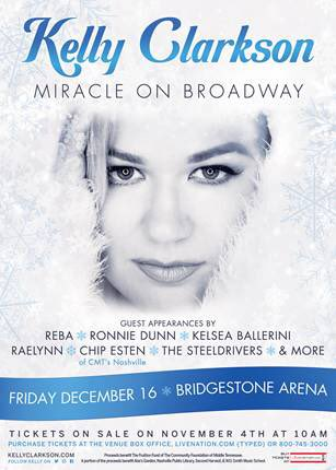 Kelly Clarkson reveals the lineup for the 2016 Miracle on Broadway event.