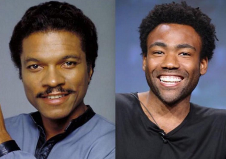 In an upcoming Star Wars franchise film, Donald Glover (R) will play young Lando Calrissian, a character made famous by Billy Dee Williams (