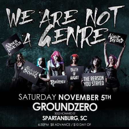 "Show flyer for the ""We Are Not A Genre"" show to be held on November 5 at Ground Zero in Spartanburg, SC."