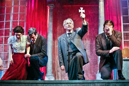 "Mina (Jesse Morrow), Harker (Jacob Tice), Van Helsing (Joseph Grant), and Seward (Christopher Rocco) in TLT's ""Dracula."""
