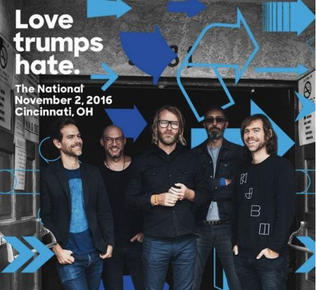 The National's 'Love Trumps Hate' concert is free and begins at 6:00 p.m.