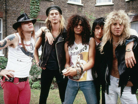 Steven Adler (far right) was fired from Guns N' Roses in 1990 due to his heroin addiction.